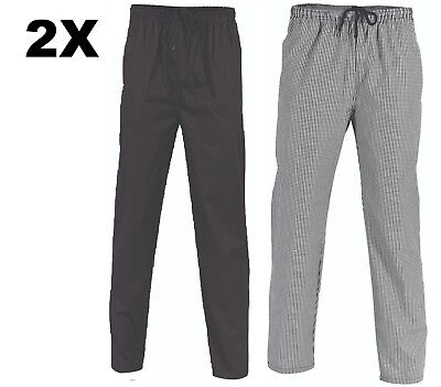 2 X Polyester Cotton Drawstring Chef Pants- DNC Workwear 1501 FREE POSTAGE