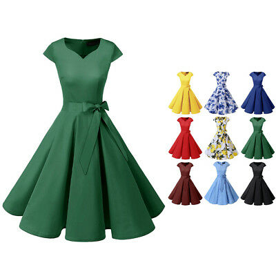 Women Retro 1950s Cocktail Party Dresses Vintage Swing Dress with Cap-Sleeves