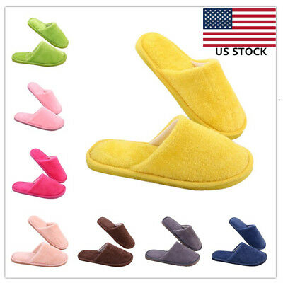 Soft Plush Cotton Cute Slippers Shoes Non-Slip Floor Indoor House Furry Slippers