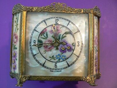 Vintage FRENCH STYLE CLOCK - Ornate Brass & Embroidery - Circa 1930's - Working