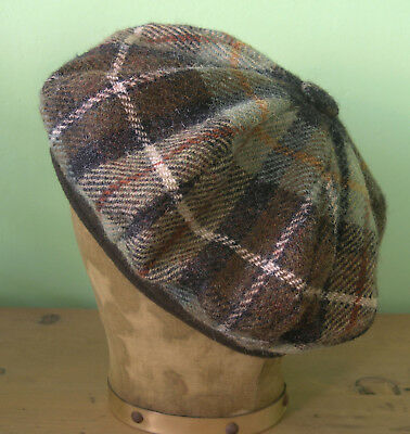 Scotland Vintage Damen Tweed Barett Mütze kariert Harris Tweed