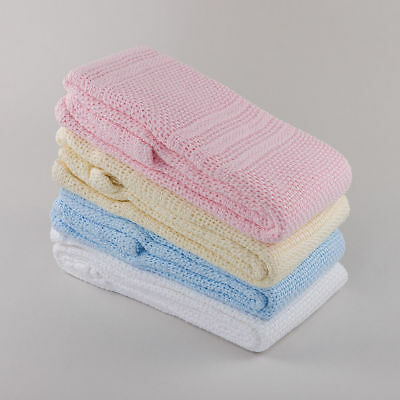 Brand New Boys Girls 100% Cotton Baby Cellular Blanket Pram Cot Bed 100x150cm