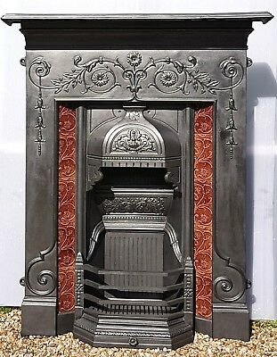Reclaimed Antique Style Cast Iron Fireplace. Original Victorian Tiles Birmingham