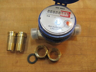 "1/2"" Home and Garden Flow Measure  Water Meter Dry Counter 15mm"