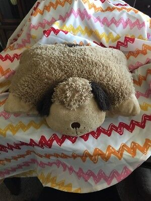 "Pillow Pets Snuggly Puppy  Dog Plush 17""x19"" Stuffed Animal Brown & Soft"