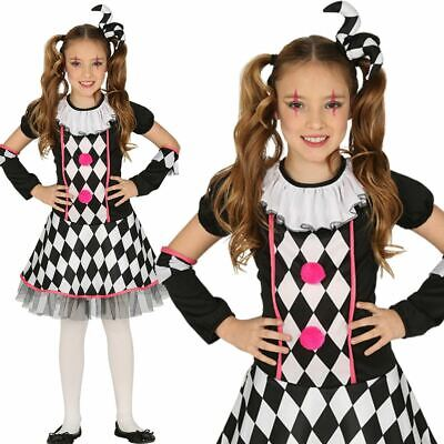 Kids Girls Dark Circus Jester Harlequin Clown Fancy Dress Halloween Costume