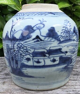 "Old Vintage Antique Large Chinese Blue & White Ginger Jar No Lid 6.25"" Tall"