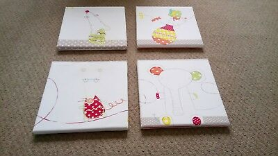 Mamas And Papas Set of 4 Nursery Canvases