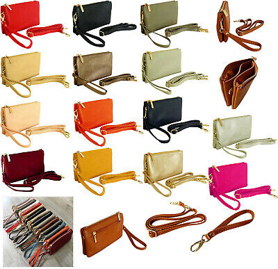 Small Plain Clutch Bag Purse with Wristlet Ladies Handbag Long Adjustable Strap