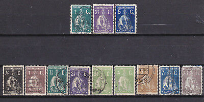 Portugal 1912-21- Perf 15 x 14  Ceres issues - see description