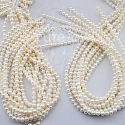 Wholesale 5Pcs 5-6mm White Natural Real Freshwater Pearl Loose Beads Strands 15""