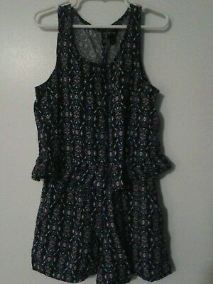 Girls Sleeveless Romper-Size M-7/8-Blue-Back to School!