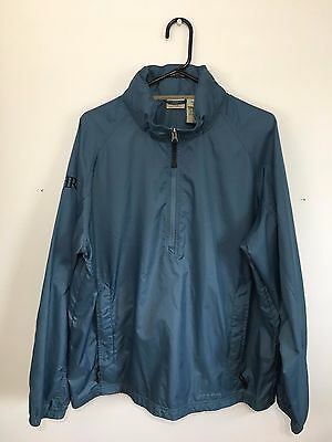 LL Bean 1/2 Zip Men's Large Stowaway Hood Blue HRX Embroidered Windbreaker