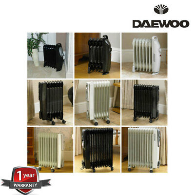 Daewoo Oil Filled Radiator 6 7 9 11 Fin Heater Portable Electric Thermostat Rad