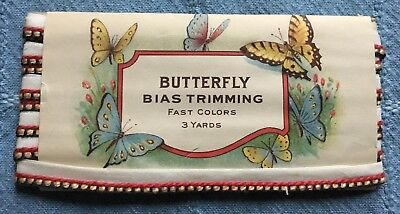 Antique Vtg Package Butterfly Bias Trimming Tape - Blue Red Yellow Edge