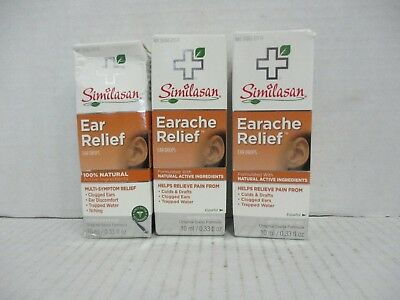3 SIMILASAN EARACHE RELIEF DROPS 0.33oz EA EXP 3/20 DE 6292