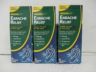3 Magnilife Earache Relief Allergy/cold/congestion/swimmer's Ear 90 Each De 6306