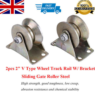 "Durable 2pcs 2"" V Type Wheel Track Rail With Bracket Sliding Gate Roller Steel"