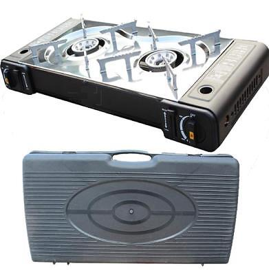 Portable BBQ Camping Twin Gas Cooker Stove BurnerOutdoor Carry Case New