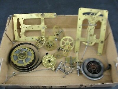 Antique New Haven Brass Clock Works Parts for Restoration