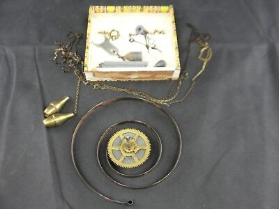 Antique Clock Works Parts for Restoration Lead Brass Weights Steel Hands