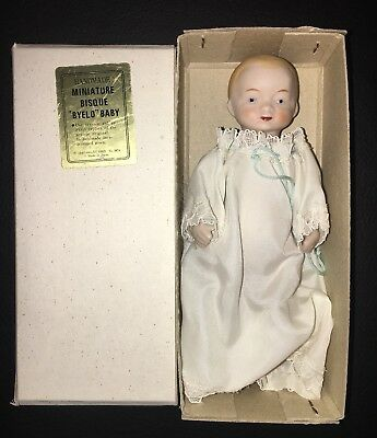 "Miniature Bisque BYE-LO Baby 1970's Reproduction China Doll 1980 4 1/2"" NIB"