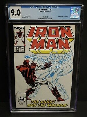 MARVEL COMICS IRON MAN #219 1987 CGC 9.0 WHITE PAGES 1st GHOST APPEARANCE