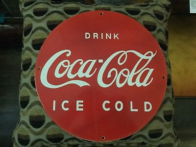 Coca Cola 1920's single sided,round porcelain sign! Mint condition,maybe NOS?