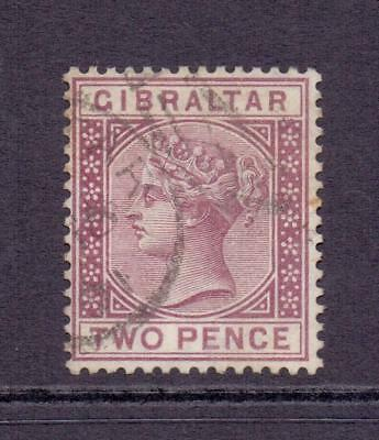 1886-7 Gibraltar QV SG11 2d Brown Purple Fine Used CDS Cat £35
