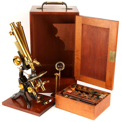 Exceptionally Fine & Impressive Binocular Microscope Outfit By Swift - Antique