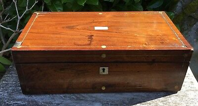 Old Antique Victorian Mahogany Mother Of Pearl Inlay Writing Slope Box For TLC