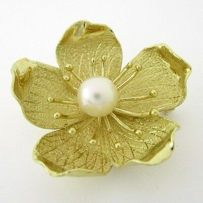18K Yellow Gold Flower Pin Brooch with 8.2mm Pearl in Center