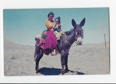 Navajo Women and Child Riding Donkey On the Reservation  Vintage Postcard