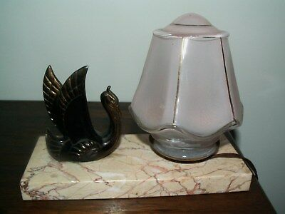 French ART DECO Table/Side Light On Marble Base