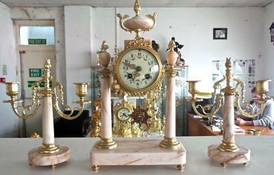 Antique 19th c French Gilt Bronze & Marble Portico 8 Day Bell Mantel Clock Set
