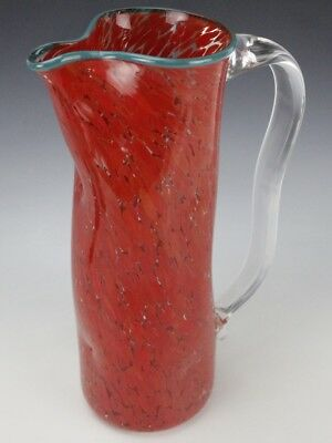 MYSTERY Artist Signed Studio Art Glass Confetti Speckled Red Tall Pitcher JBD