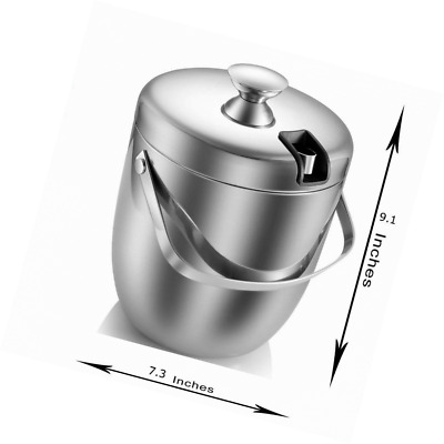 Ice Bucket,Insulated Stainless Steel Double Walled with Lid,Tongs -2.8L-Silver