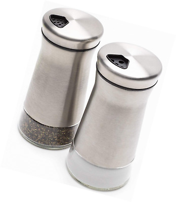 Elegant Salt and Pepper Shakers - Stainless Steel Set Of 2 - Gorgeous and Dispen
