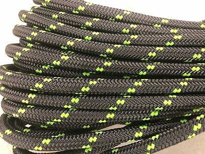 """Double Braid Polyester 3/4""""x100 ft arborist rigging tree bull rope charcoal/lime"""