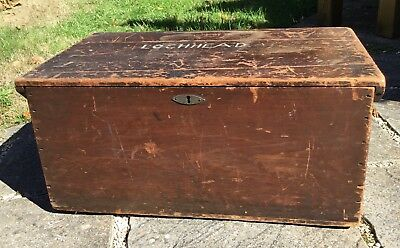 Old Vintage Antique Country Wood Wooden Keepsake Toy Box Trunk Chest For TLC