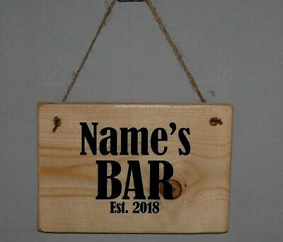 Personalised Any Name Words Bar Plaque Sign Den Garage Hideout Man Cave Shed