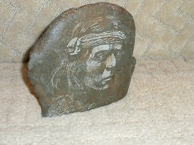 Native American Signed Stone Art Paperweight Bookend Hand Incised Apache Warrior