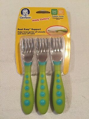 Gerber Graduates Kiddy Cutlery Forks, Green, 3 Count