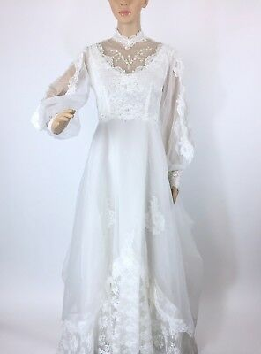 VTG 70s ? Wedding Dress Medium Lace Long Sleeve High Neck Beaded Train Bustle
