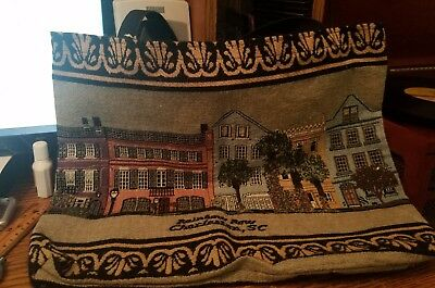 Sheila's RAINBOW ROW Set of 9 Houses Charleston, SC on a Tapestry Bag