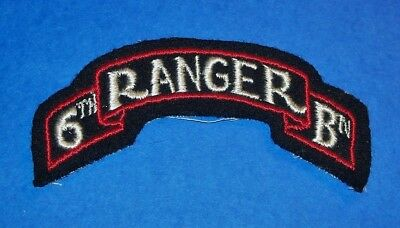 ORIGINAL CUT-EDGE WOOL FELT WW2 6th RANGER BATTALION SCROLL PATCH