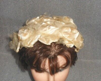 Older Lady's White Half-hat Hair Accessory Hat ~ Large White Flowers