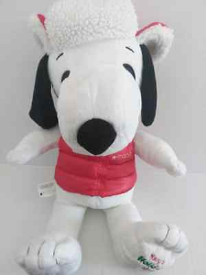 """2015 Macy's Peanuts Christmas Holiday SNOOPY Plush Red Hat and Vest 18"""""""