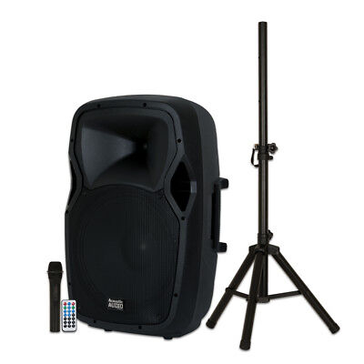 "Acoustic Audio AA15BS Powered 1000W 15"" Bluetooth Speaker with Battery Mic Stand"