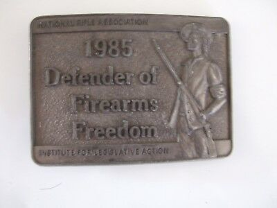 Vintage Nra 1985 Defender Of Firearms Freedom Belt Buckle - Nice Condition